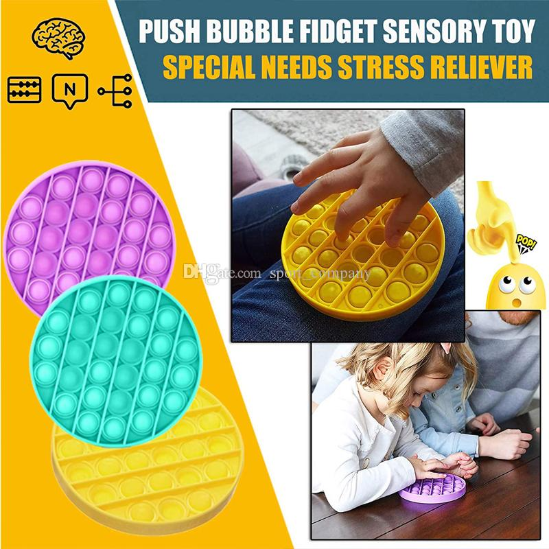Hot Push Pop Fidget Toy Sensory Push Pop Bubble Sensory Toy Pop It Fidget Juguete Autismo Necesidades especiales Ansiedad Estrés Alivio para Niños Adultos