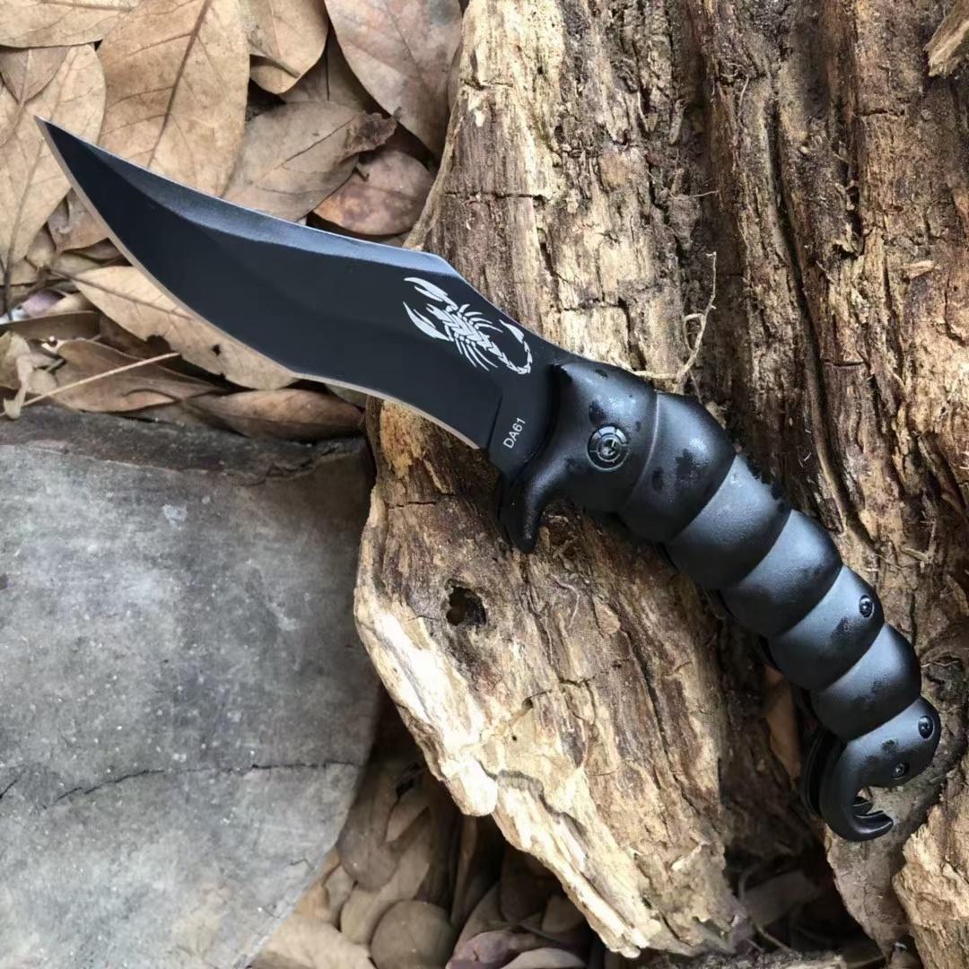 전갈 DA61 야외 포켓 접이식 칼 3CR13 산화 된 검은 블레이드 핸들 캠핑 및 하이킹 생존 도구에 적합