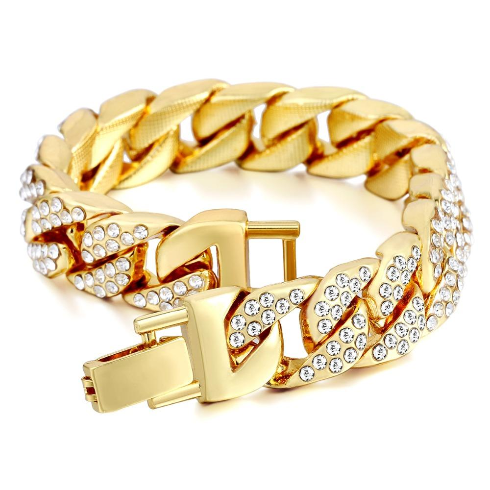 14mm 남자 팔찌 힙합 마이애미 쿠바 링크 골드 실버 컬러 포장 된 모조 다이아몬드 남성 손목 밴드 거리 보석