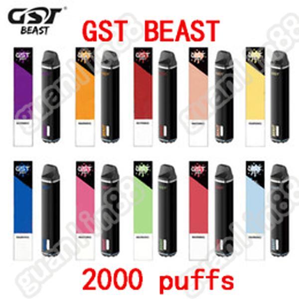 GST Beast Beast Monouso Dispositivo di sdraio monouso Dispositivo Pod Kit 2000Puffs Disponibile 1000mAh Batteria 6.8ml Vuoto VS Puff Bar Plus Bang XXL Pod Spedizione gratuita