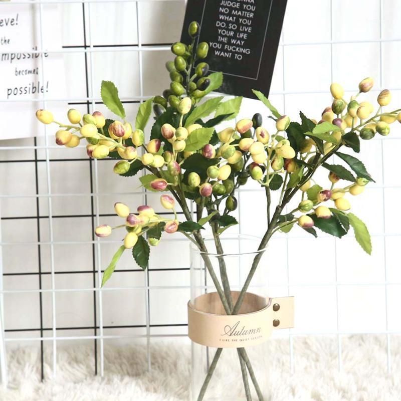 جديد زيتون الفاكهة فرع الاصطناعي الزهور عيد الميلاد حزب المنزل الديكور الصناعة الاصطناعي التوت الزهور المزيفة