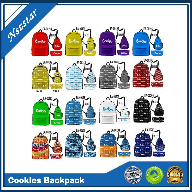 C-Okies Backpack Paquete de hombro Bolsa de pluma 3 unids Bolsas de la escuela de viaje para Backwoods Paquetes de cigarros Laptop Al aire libre Senderismo E CIG CASOS