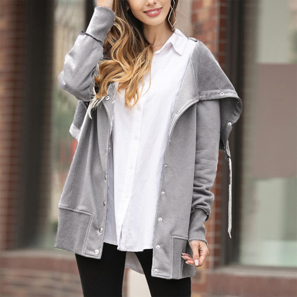 Модели взрыва в Европе и Америке г-жа осенью и зимние женские женские шаблоны сплошной цвет нерегулярного кардигана свитер пальто женский
