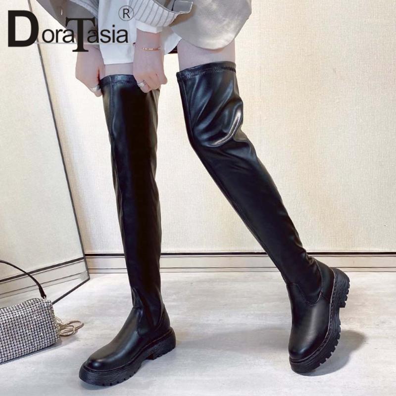 Доратасия Новая женская стройная модная модная на коленях мода платформа бедра высокие сапоги женские 2020 коренастые каблуки обувь женщина1