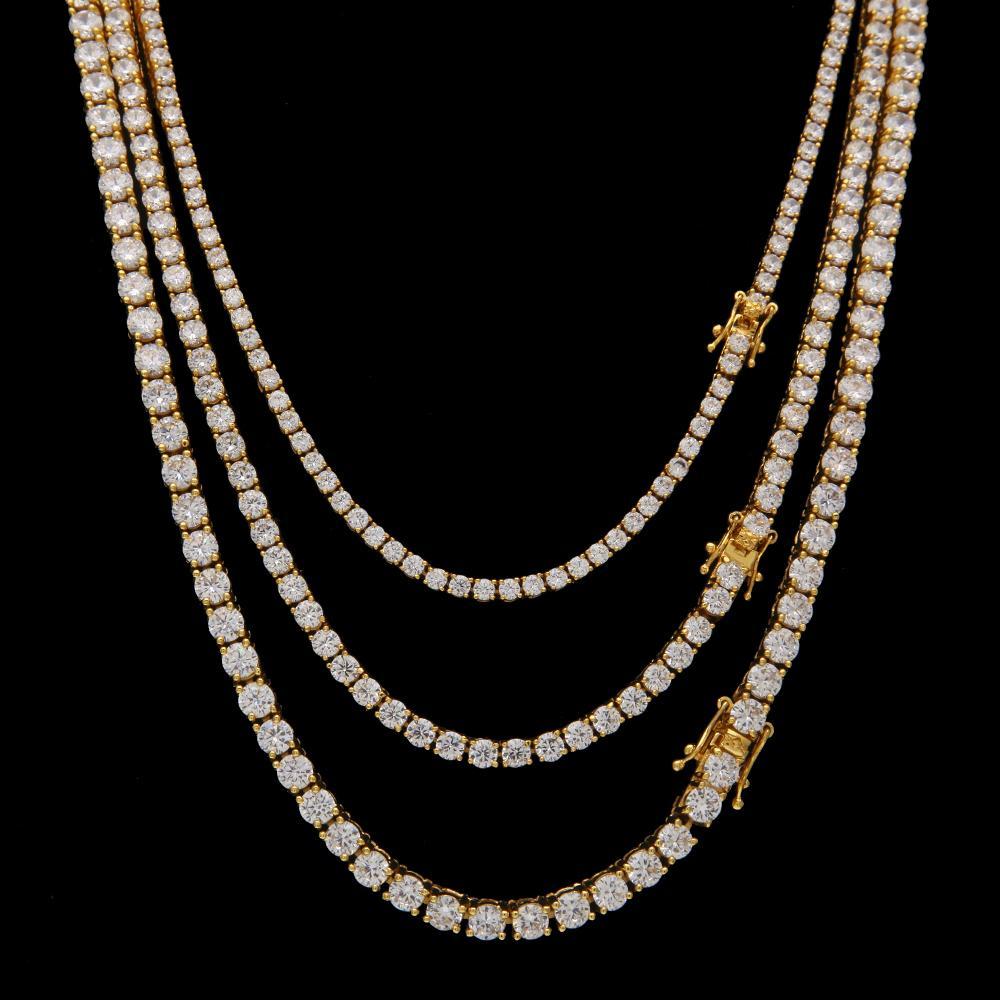 3mm 4mm 5 mm 6 mm helado Out 1 fila Cadena de tenis Hip Hop Jewelry Gold Silver Material Material Hombres CZ Collar