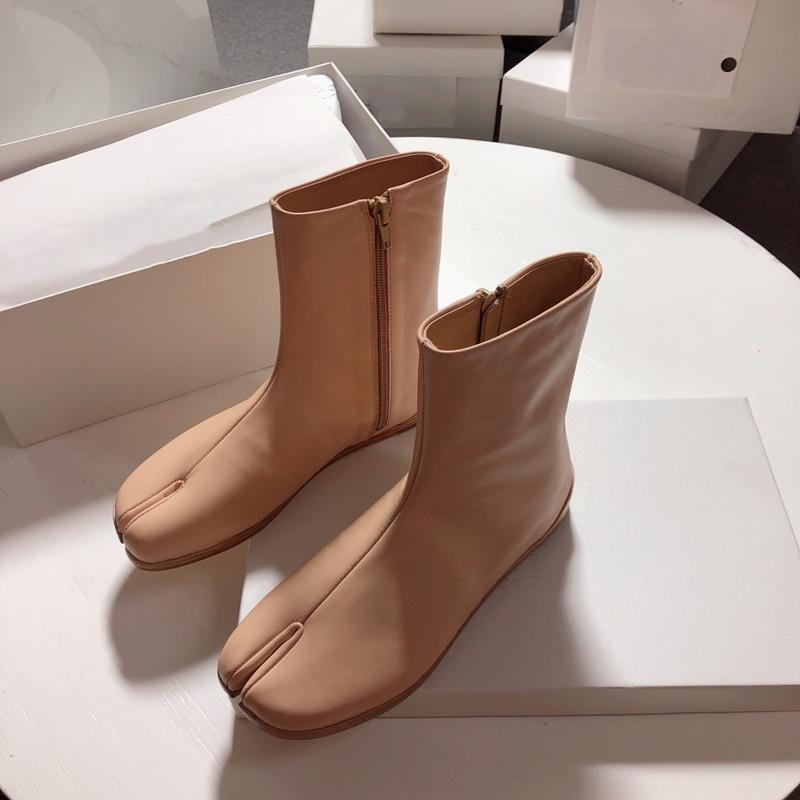 Sonbahar ve kış moda erkek ve kadın flip-flop botlar eğilim yumuşak ve rahat dana düz ayak bileği çizmeler moda çizmeler