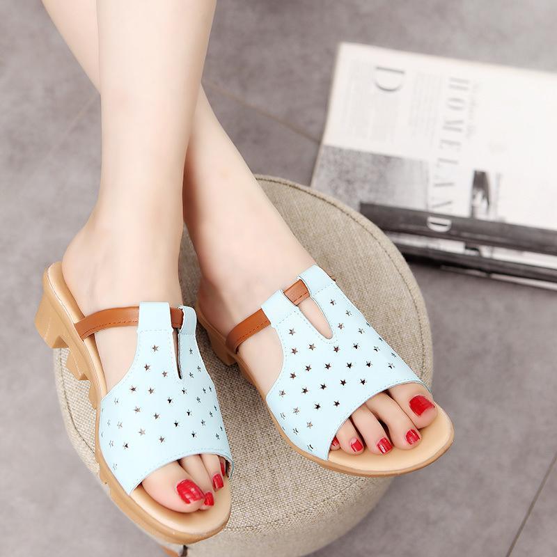Тапочки женские клинья повседневная женская мода насосы Peep toe полые летние досуг пляжные ботинки женская обувь плюс размер
