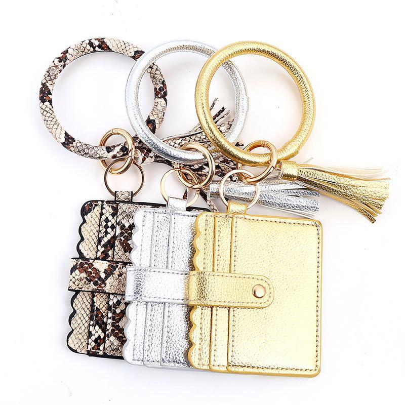 Tendencia de la moda bolsa de tarjeta simple Tarjeta de cuero Tassel Llavero Cartera Leopardo Hombres Joyería Serpiente para regalos de Llavero Mujeres CQGEC