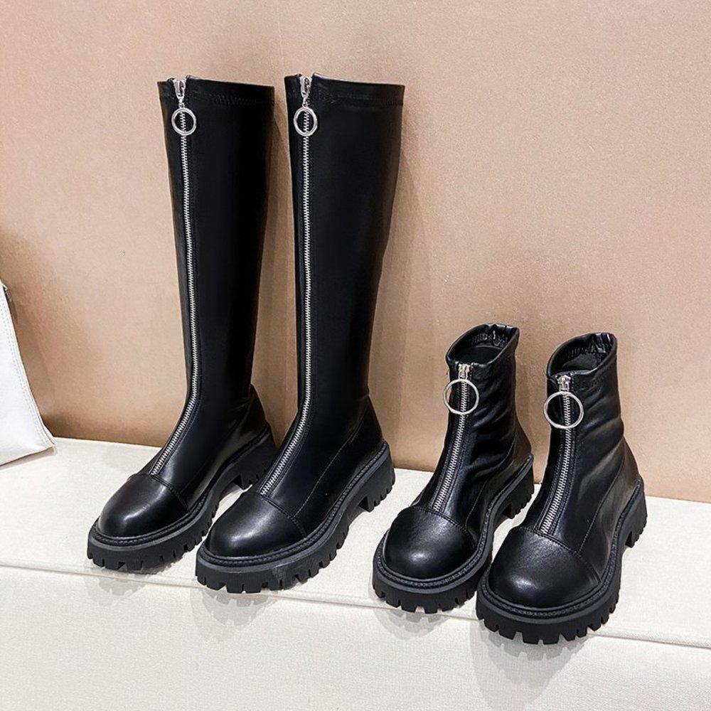 2020 منتصف العجل الخريف منصة القوطية الأحذية أزياء الشتاء النساء عالية الكعب الجبهة سستة الدافئة الأحذية