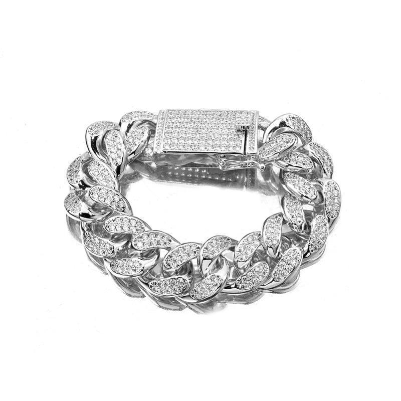 7/8 / 9 / 10inch 20mm Hip Hop Micro Pave Cubic Zirconia Silver Gold Heavy Cuban Link Bracelet Bijoux