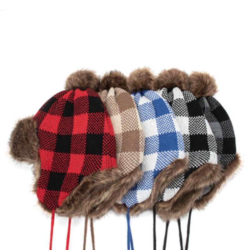 Heißer Verkauf Unisex Winter Trapper Hut Gitter Plaid Print Plüsch gefüttert Ushanka Earlap-Kappe Männer Frauen Trapper Hüte warm