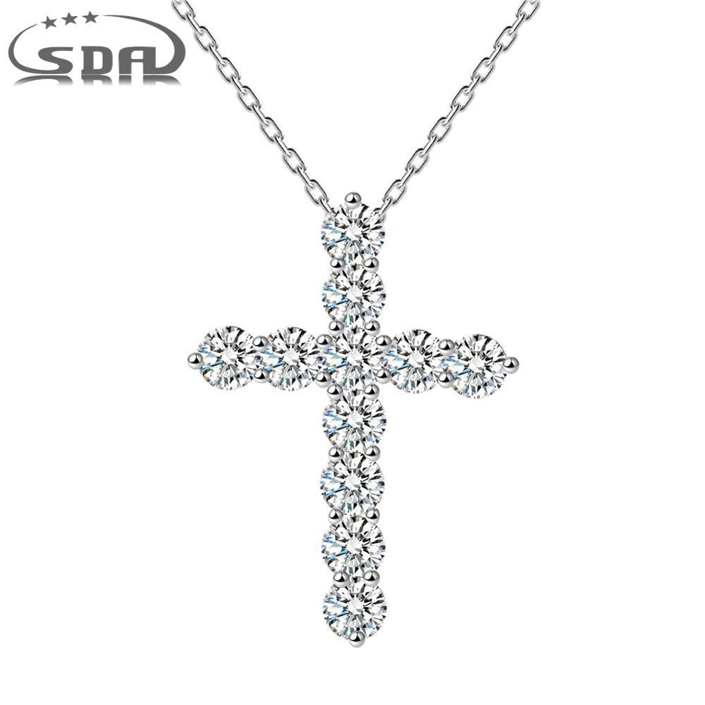 High Quality Jewelry 925 Sterling Silver Necklace Pendant For Women shining Stone Cross Necklace