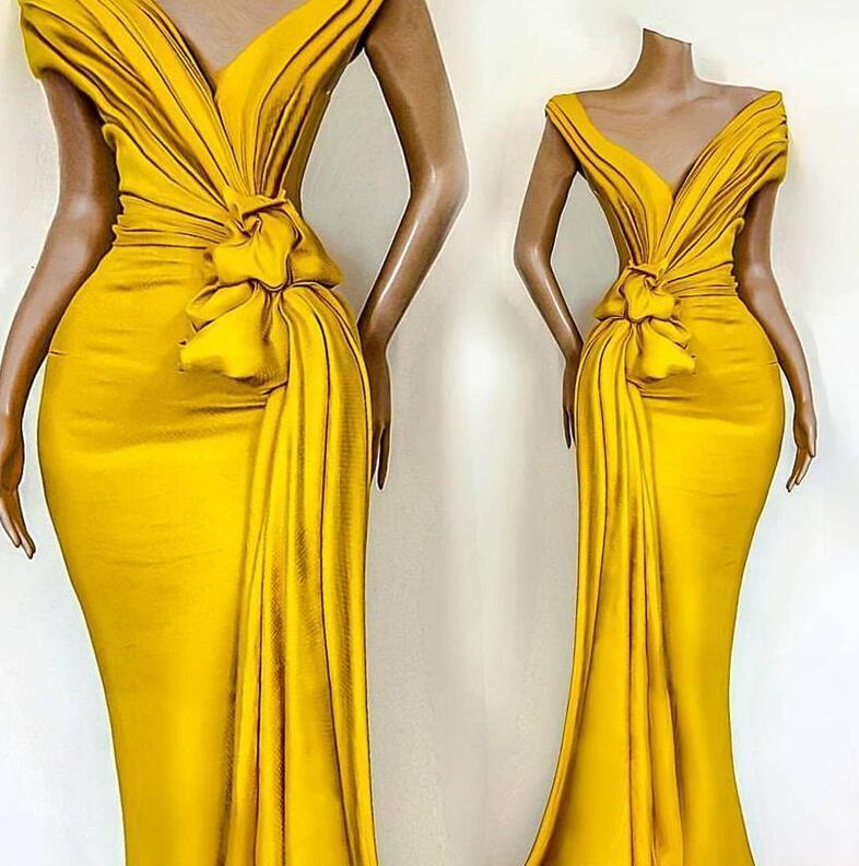 Büyüleyici 2021 Sarı Abiye Pileler Düğüm Mermaid Kapalı Omuz Örgün Parti Kadınlar Için Örgün Parti Ünlü Abiye Fırsat Balo Elbise