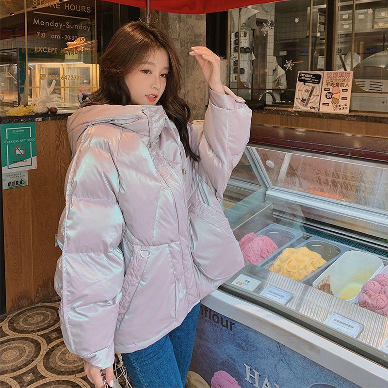 Chaqueta acolchada de algodón brillante Mujeres corta 2020 invierno nuevo suelto coreano banda de pan para estudiantes con capucha con capucha