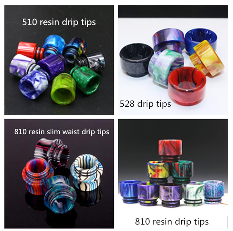 510/810/528 Epoxy Resin Drip Tips Wide Bore Mouthpiece Vape Drip Tips for TFV8 TFV12 Prince Atomizer