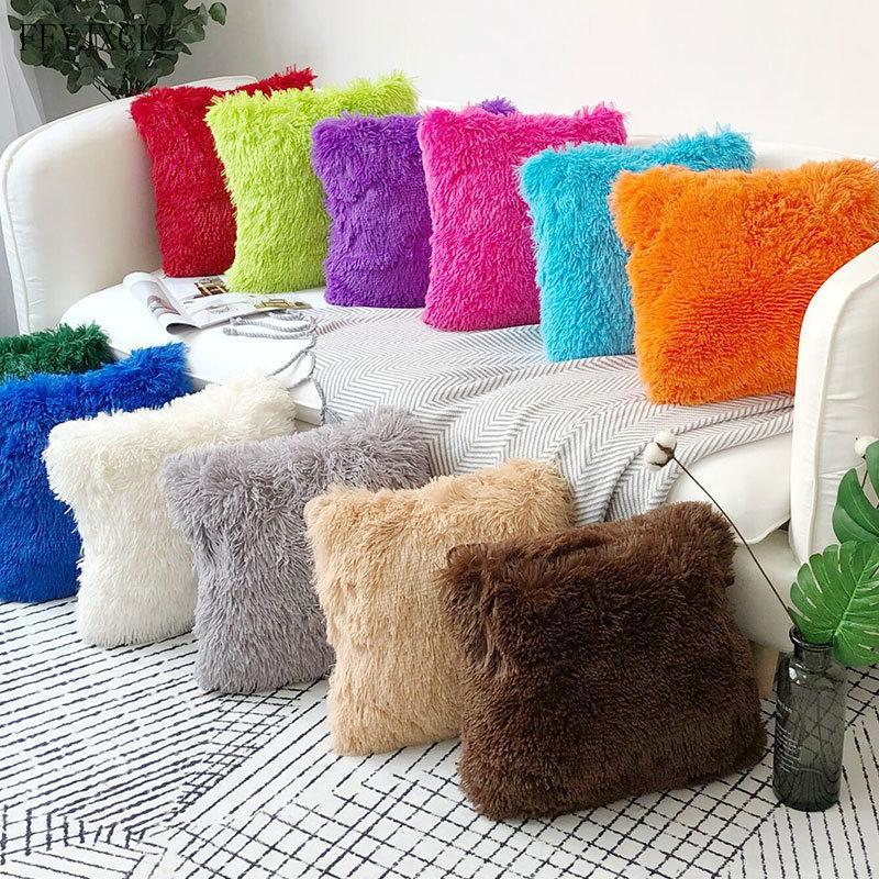Сплошные цветные наволочки, мягкие плюшевые кроватя в комнате автомобиль 43x43см для домашней подушки чехол меховой диван декоративные подушки крышка подушка сиденья Hqoso