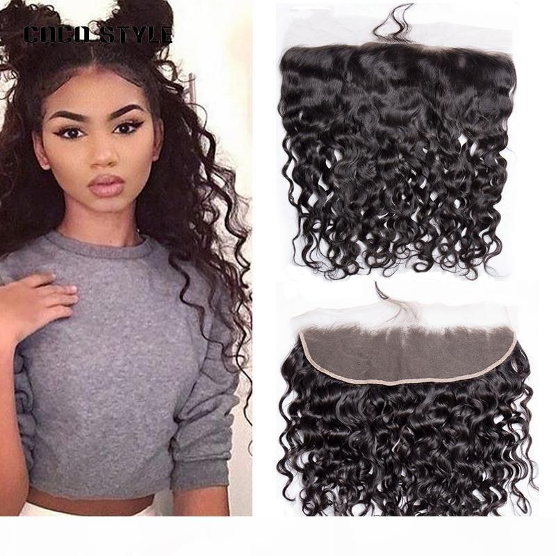 Onda de água brasileira 13 * 4 orelha a orelha lace fechamento frontal remy cabelo tecer pacotes 100% transporte de cabelo humano livre