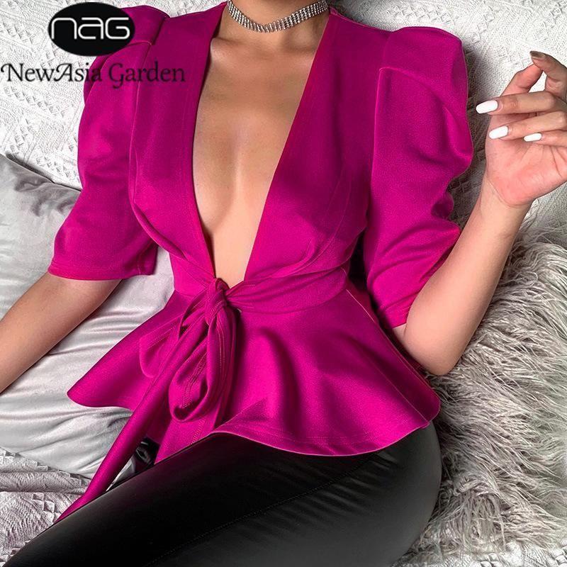 Newasia Bahçe Hırka Ofis Bluz Fırfır Üst Derin V Boyun Lace Up Yay Sıcak Pembe Bluz Katı Renk Bayan Tops ve Bluzlar1