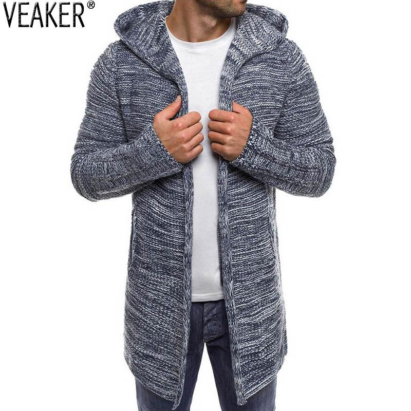 2020 Novos Homens Longa Camisola Com Capuz Casaco Masculino Color Sólido Outono Sweastcoat Outerwear Casual Cardigans Knitwear M-2XL