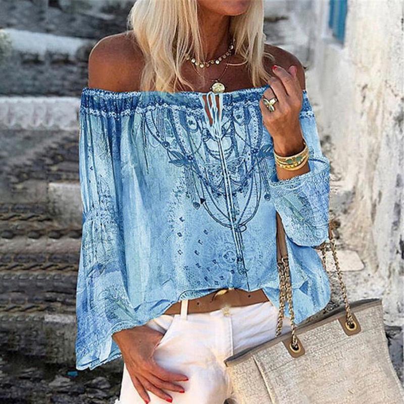 Kadın Bluzlar Gömlek Cysincos Yaz Omuz Çiçek Baskı Bluz Kadınlar Dantel-up En Vintage Flare Sleeve Bayanlar Oymak