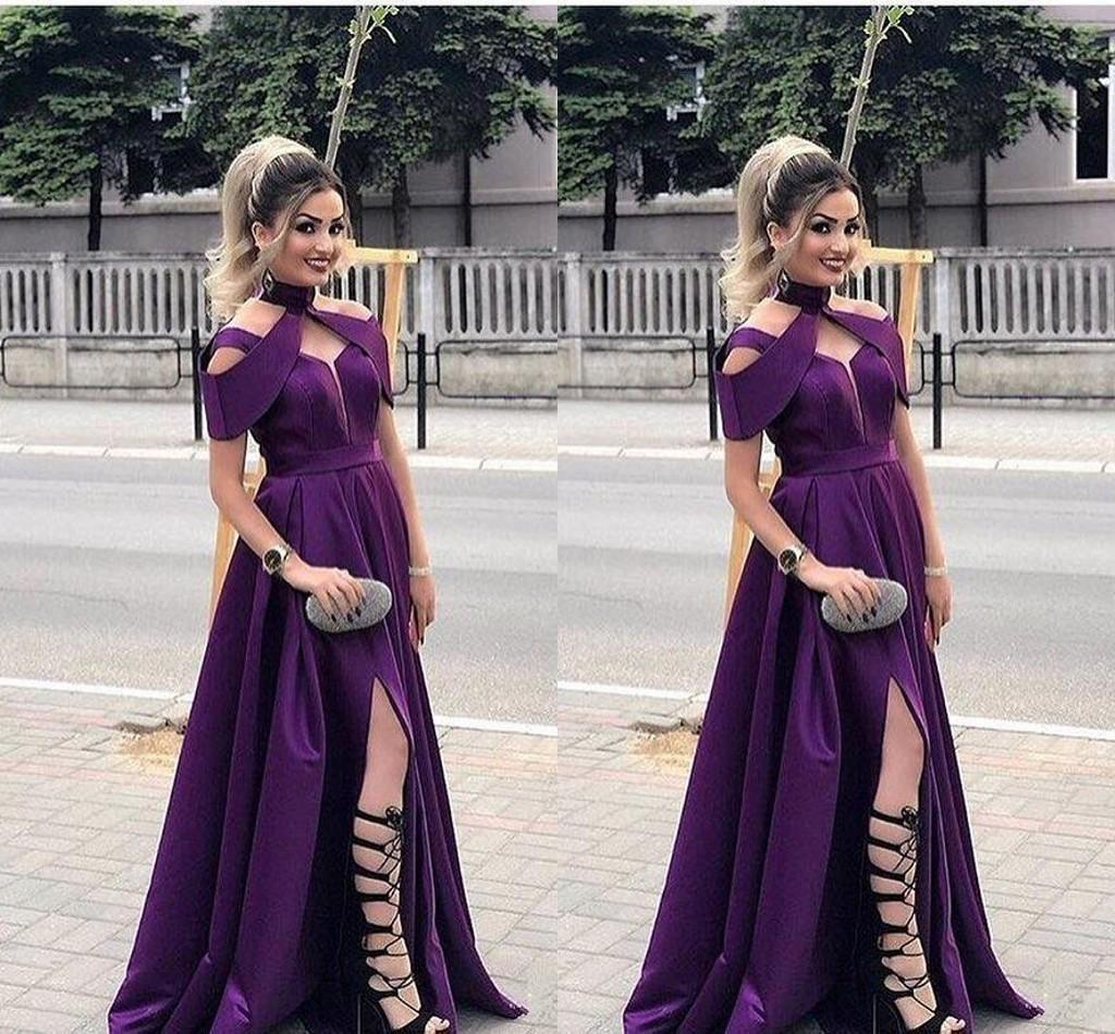 New Fashion Sexy Pruple Cheap Evening Dresses V Neck Satin High Side Split Party Gowns Prom Dresses Formal Dress Evening Gowns Vestidos