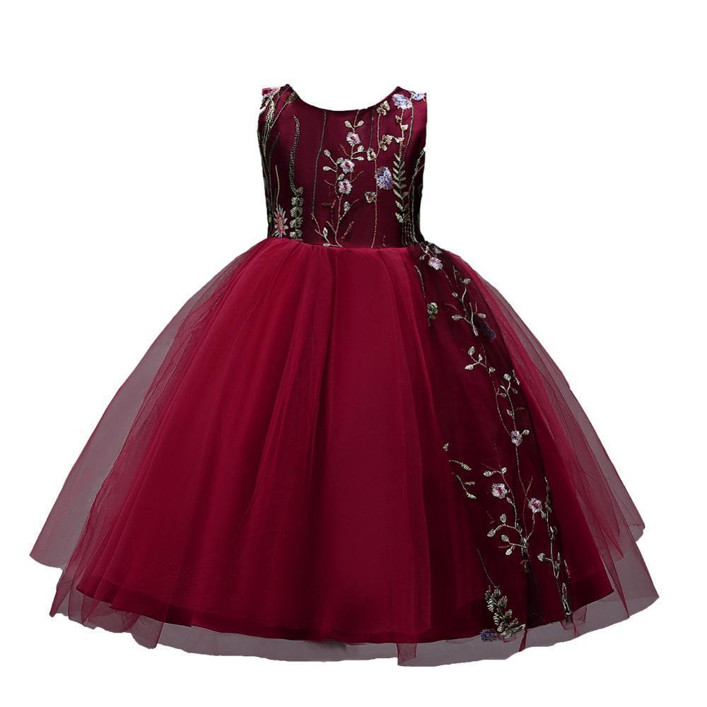 4-15 anos bordado crianças vestido para meninas festa elegante vestidos de natal menina vestido de bola de casamento roupas vestuário vermelho preto f1130