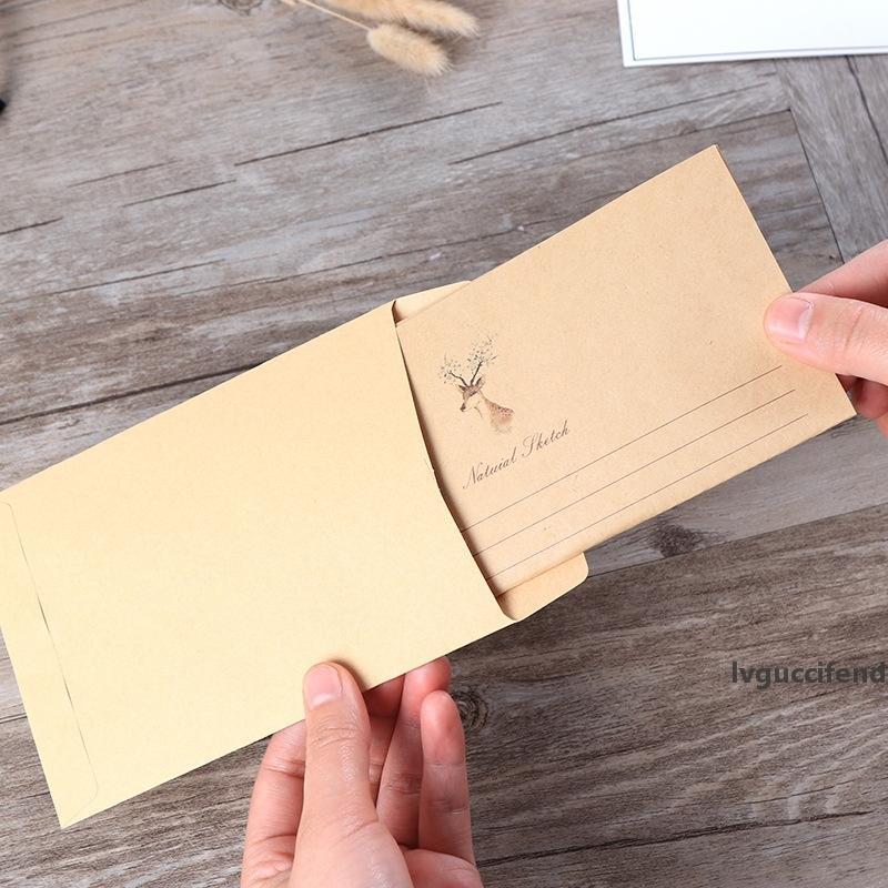 800X Papel Kraft bonito Epistolar Envelope Retro cervos DIY Vintage Papel Scrapbooking papelaria presente