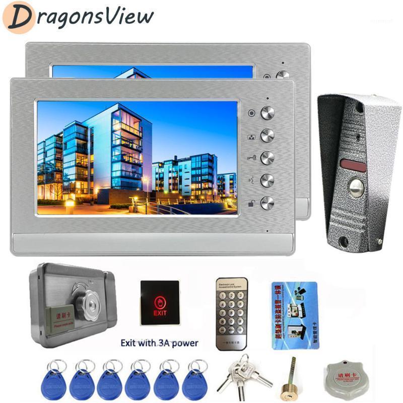 Dragonsview Intercom con 2 monitores Cámara de la puerta de la puerta del hogar de la puerta del teléfono de 7 pulgadas de 7 pulgadas para el sistema de seguridad de apartamentos para el hogar1