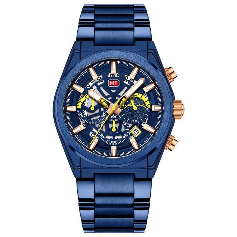 Spor saatler erkek lüks marka paslanmaz çelik kuvars İzle kronograf tarihi kol saati moda iş erkek saat