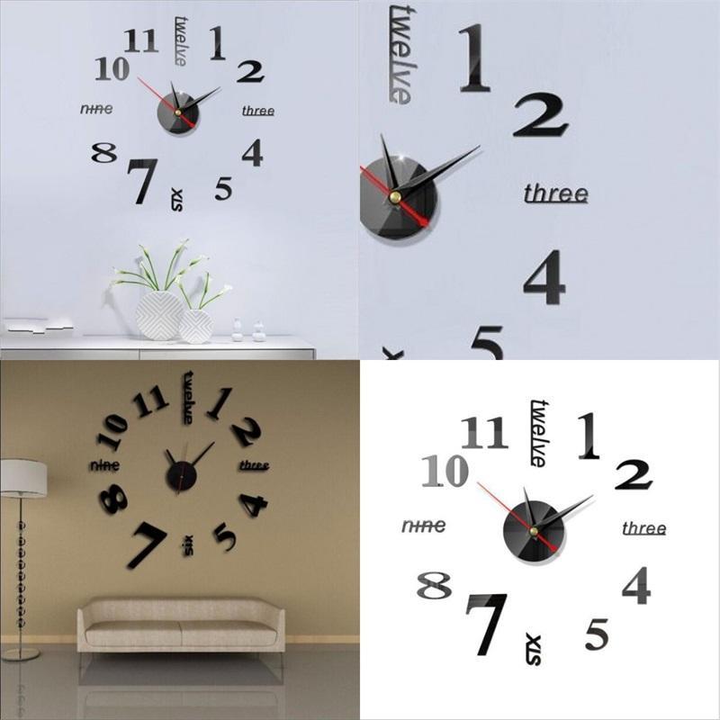 독창성 DIY 벽시계 아크릴 미러 스티커 3D 홈 가구 홈 장식 번호 시계 고품질 5 6JW F2