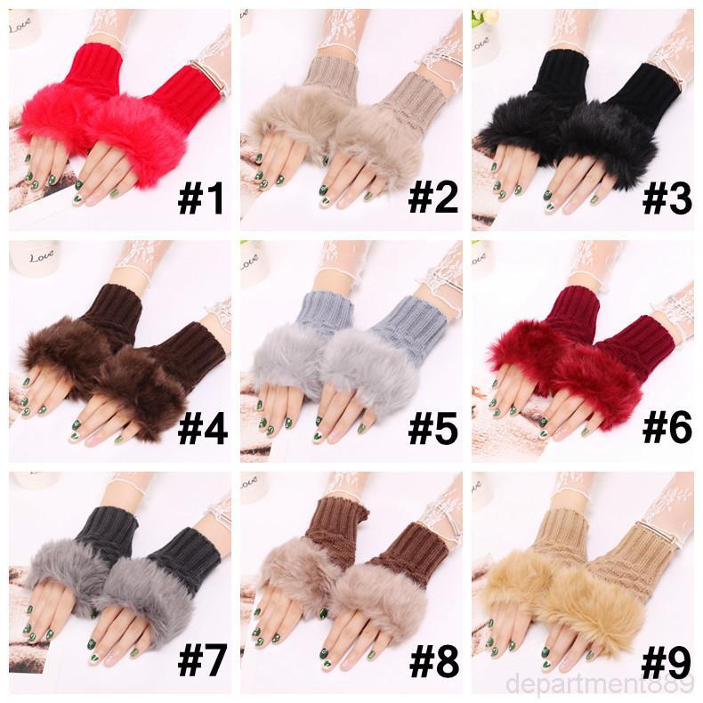 Hiver tricoté femme pure gants sans doigts gants en fausse fourrure Pomprom mitaines mode décès en plein air gant crochet 9 couleurs DHA1043