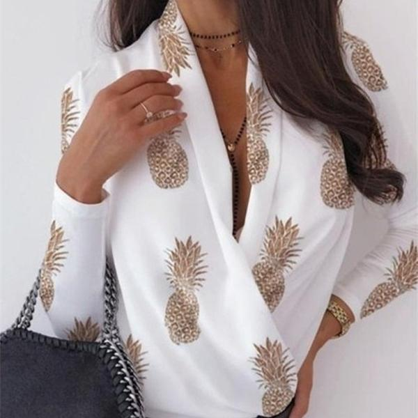 Camicia sexy camicetta con scollo a V donne moda donna camicette e top stampa elegante casual autunno primavera manica lunga streetwear vestiti Q1216