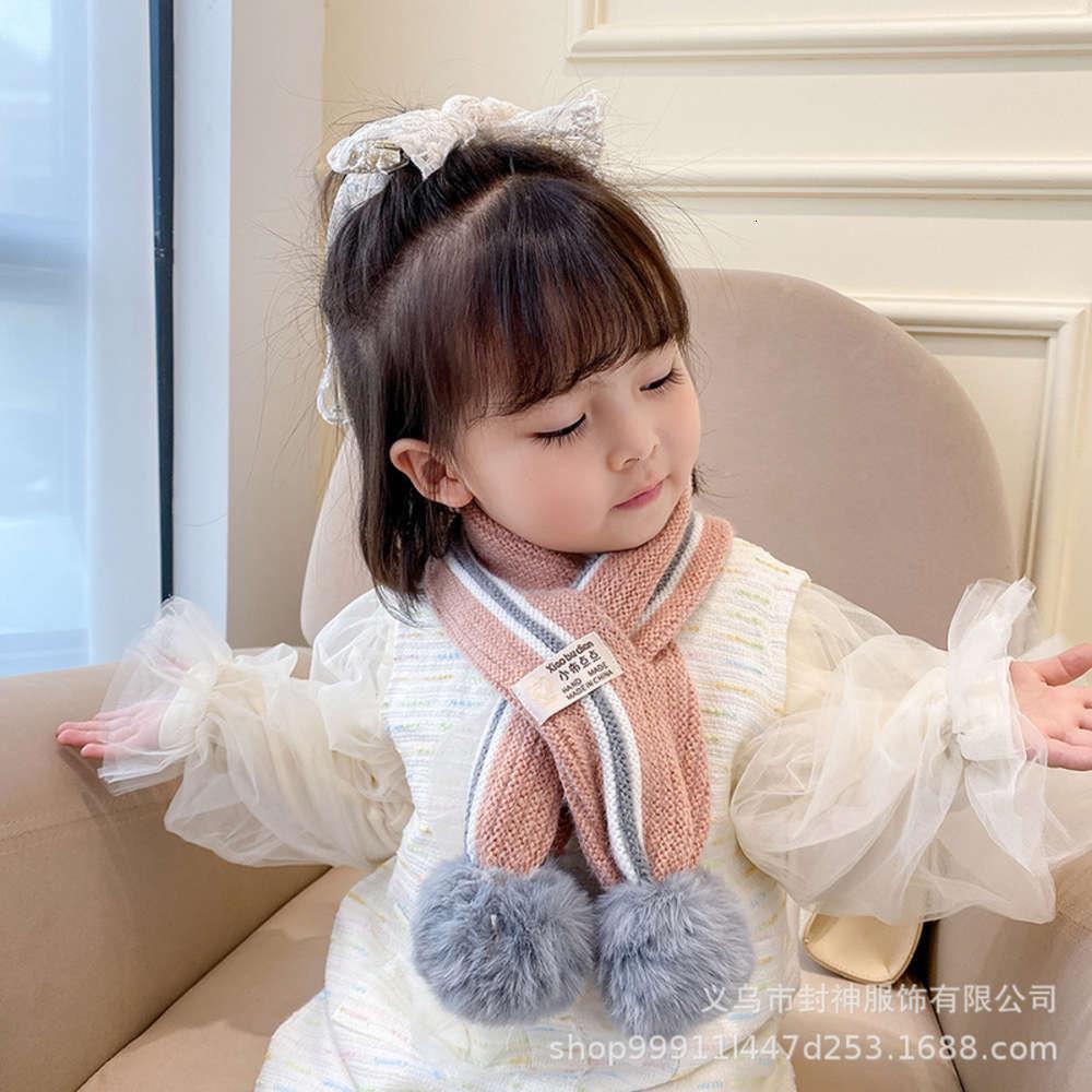 Ve Kore Kış Renk Eşleştirme Yün Topu Örme Çocuk Eşarp Boyun Kapak
