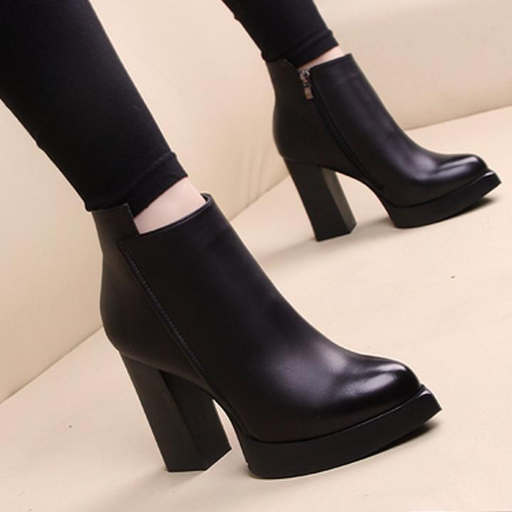 Sıcak satış moda yüksek topuklu martin çizmeler kış kaba topuk kadın ayakkabı bayan çöl çizmeler 100% gerçek deri yüksek topuk çizmeler büyük boy