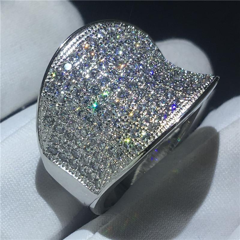 Vecalon Vintage HiPhop Bague 925 Sterling Silver Pave Cadre Diamant CZ Bandes Engagement Bagues Pour Femmes Hommes Doigt Bijoux
