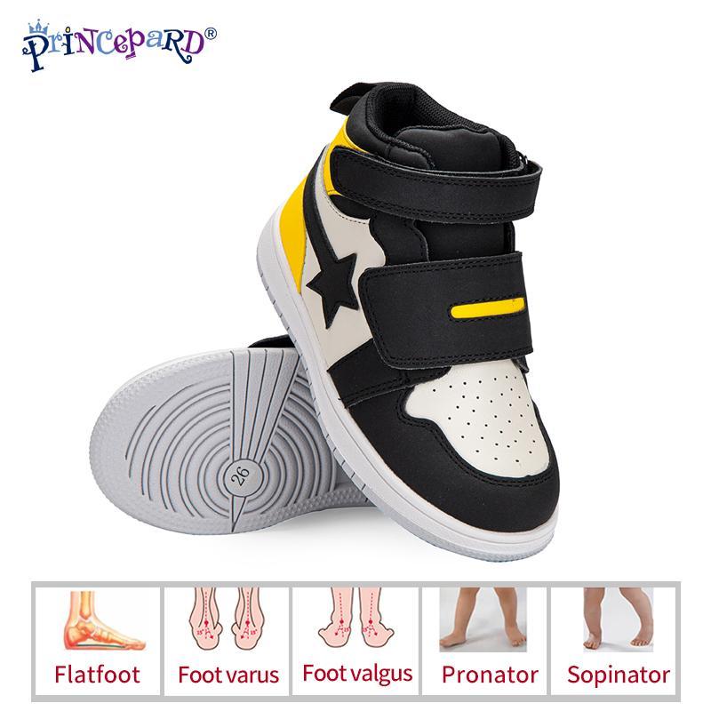 PRINEPARD çocuk ortopedik antiskid casual sneaker kemer desteği ile deri düzeltme ayakkabı erkek ve kız