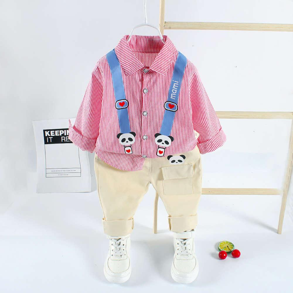 striped bear Baby shirt boys' Autumn two piece trendy new children's suit