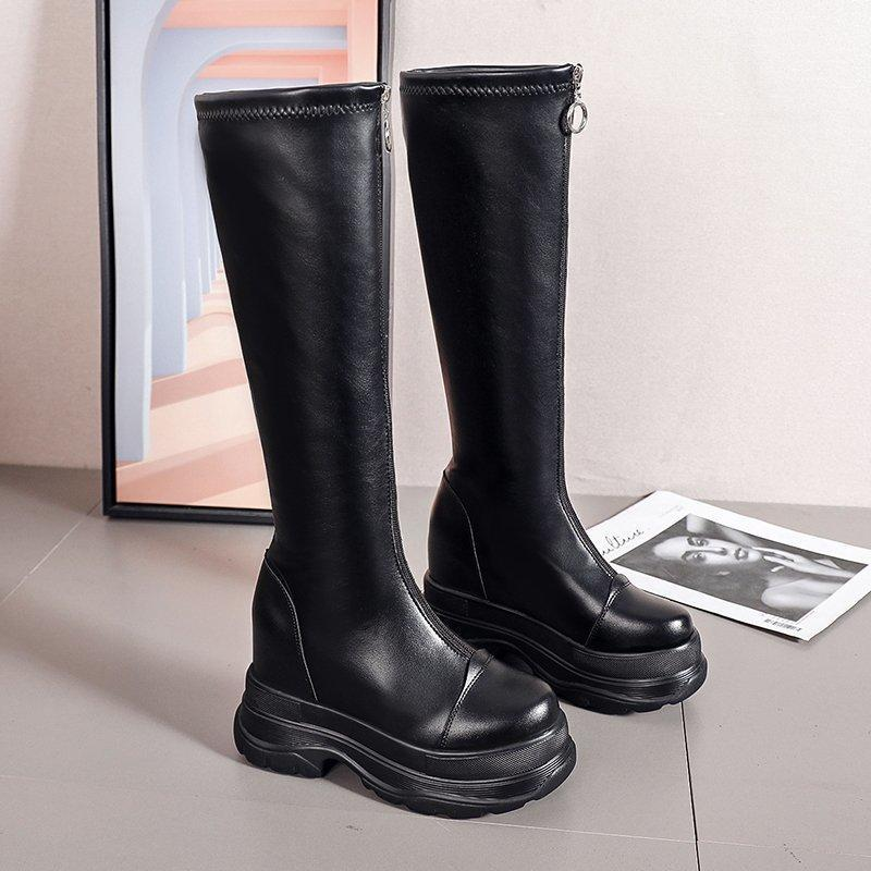 Brand Designer Womens Luxusstiefel 2020 Heiße Damen Knie High Boot Femme Schwarz Leder Sexy Zip Casual Boots Weibliche Botas Mujer