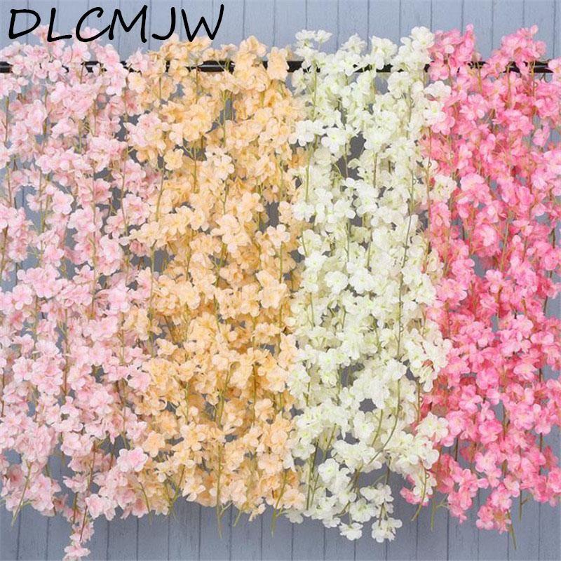 180 cm Yapay Çiçek Asma İpek Kiraz Çiçekleri Plastik Asma için Bahçe Ev Dekorasyon Yapay Çiçek Sahte
