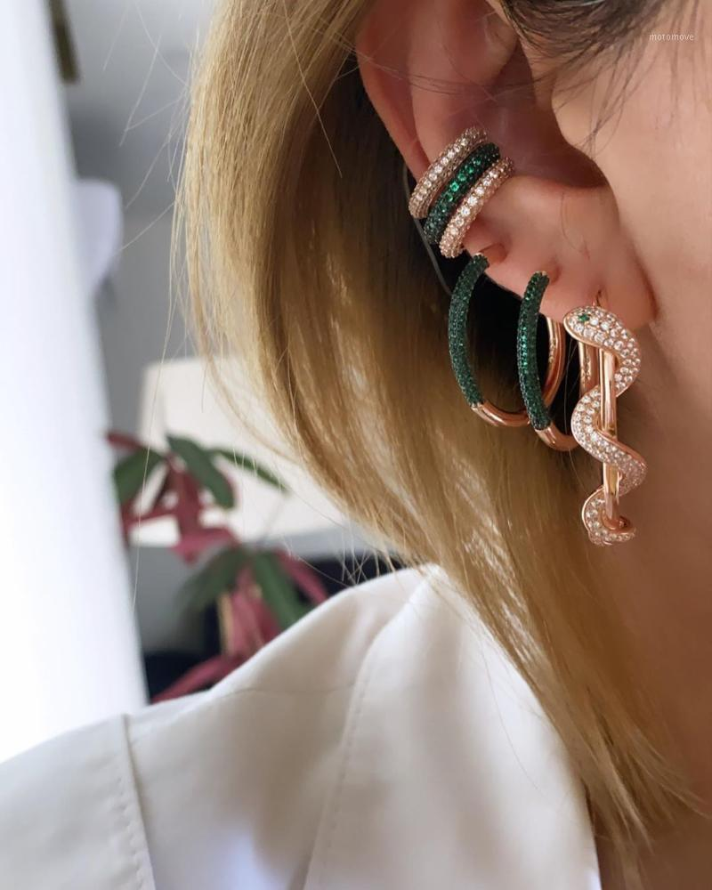 هوب هجى الذهب اللون مايكرو تمهيد الأبيض الأخضر تشيكوسلوفاكيا الأفعى شكل القرط العصرية الحيوان تصميم المرأة مجوهرات 1