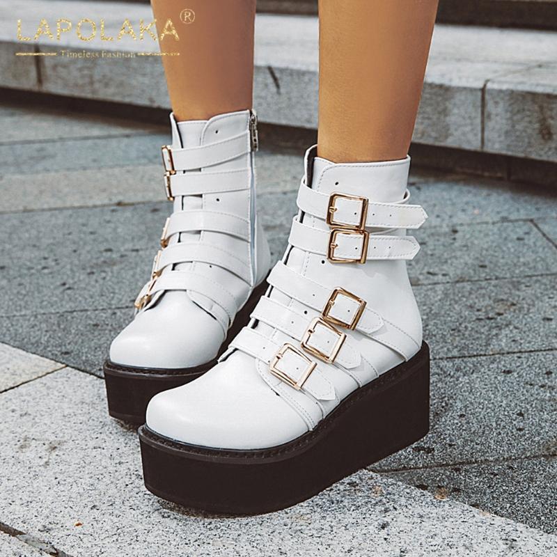 Lapolaka 2020 New Arrivals Wedge Salto Alto Outono Inverno Mulher Botas Sapatos Plataforma Zip Up Black White Botas Feminino