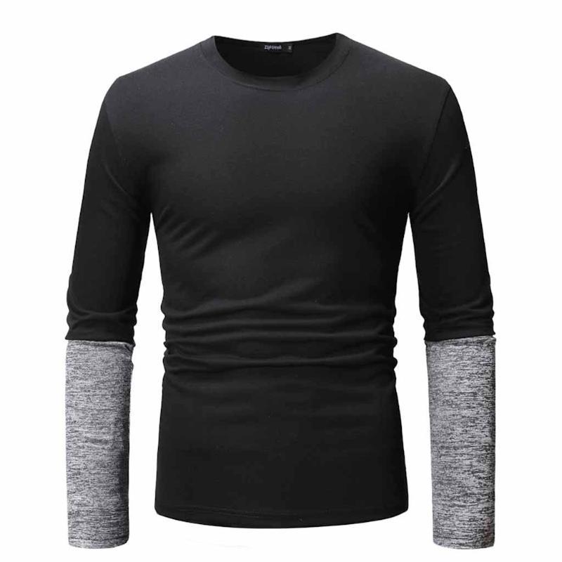 Vogue homens longos moda manga t-shirt algodão camisa de blusa de topo