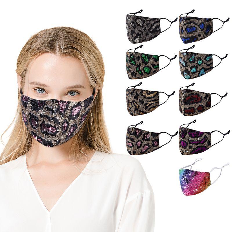 Fashion Sequin Léopard Imprimer Visage Face Masques Double Couche Masque Débutant Prévention de la poussière et du brume avec des masques de concepteur de boucle réglable