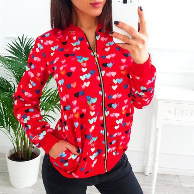 2020 Vestes d'arrivée Nouvelle Arrivée Femmes Mesdames Rétro Impression Floral Zipper Up Veste Casual Streetwear Manteau Outwear Outwear Outwat Femme N10