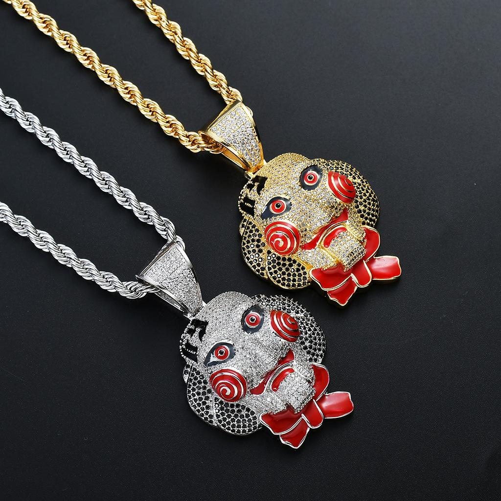 Hip Hop Saw Cry Mask Clown Pendant Necklace Gold Silver Color Iced Out Cubic Zircon Men's HipHop Jewelry Choker