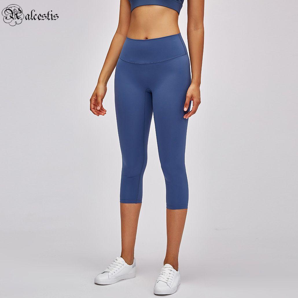 2021 fitness correndo leggings esticar nenhuma linha de constrangimento yoga nua calças cortadas cintura alta calças de quadril