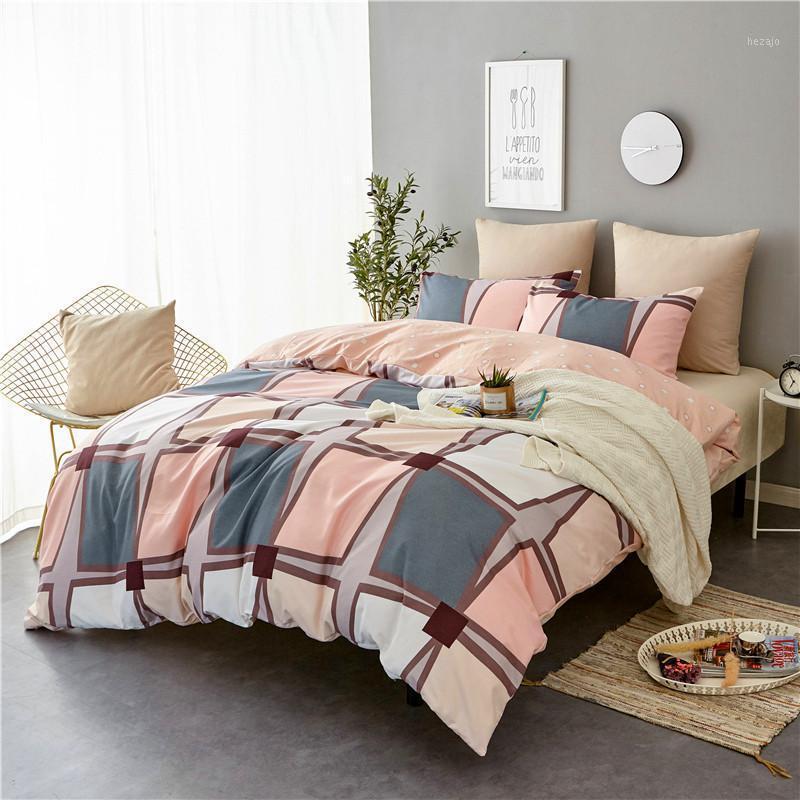 Lism Nordic Simple Ropa de cama Conjuntos AB Side King Doble Double Tamaño Todas la Temporada Se usa una cama individual Kit de cama de lujo Duvet Cover Set1