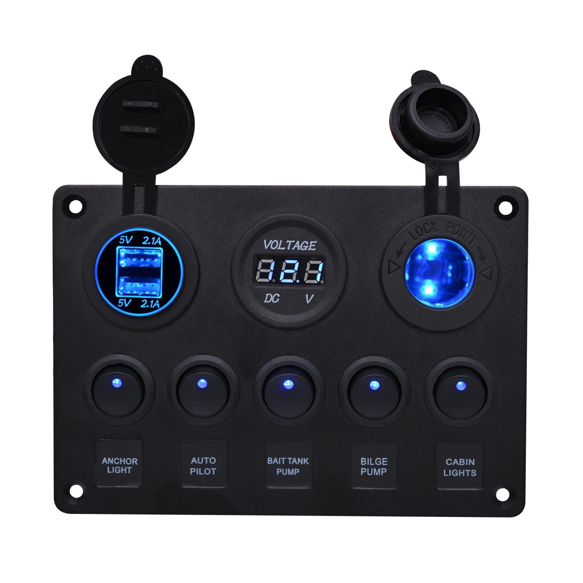 Interruttore 12V 5 Gang in auto per barche a bilanciere con Voltmetro Dual USB / Off Interruttore a bilanciere IP65 pannello interruttori Barca blu LED5 pin su CS-666A
