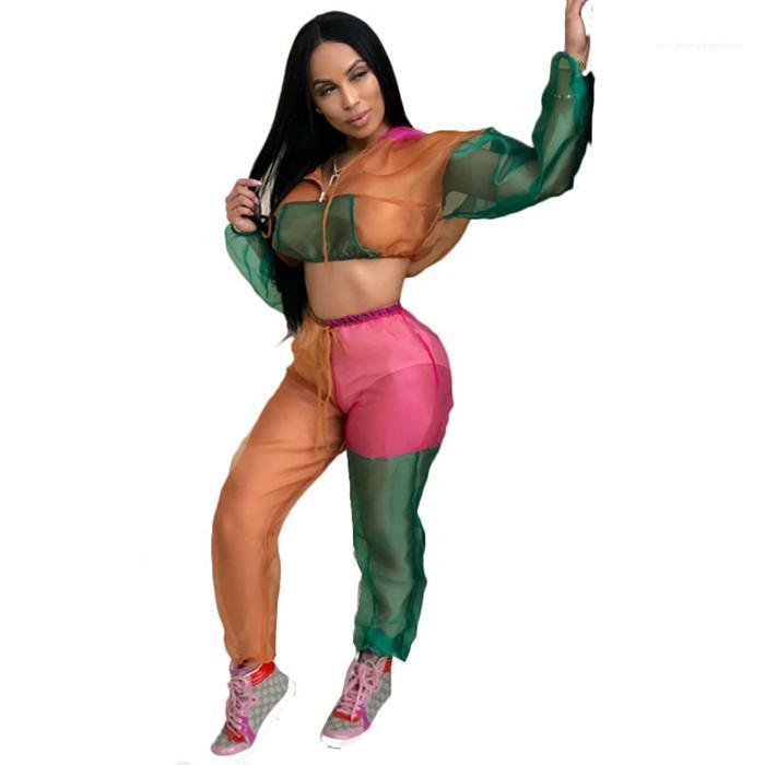 Farben Sexy Patchwork Mesh Anzüge Frauen Mode Langarm Tshirt mit Kapuze Sets Damen Sehen Sie Obwohl 2 stücke Hosen Frau Kontrast