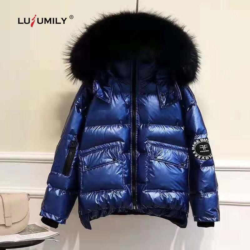 Lulumily, women's winter thick, loose, bright side, warm coat, woman's collar, overcoat, windbreaker